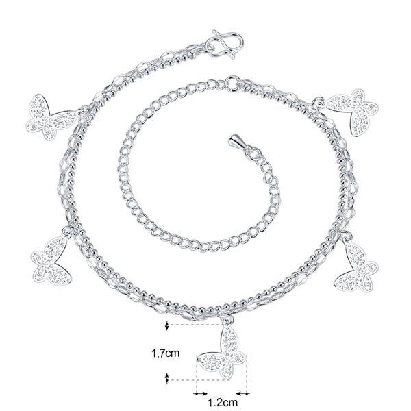 Double Layered Butterfly Tassel Charm Anklet