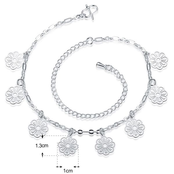 Fancy Solid Color Silver Plated Filigree Flower Charm Anklet For Women