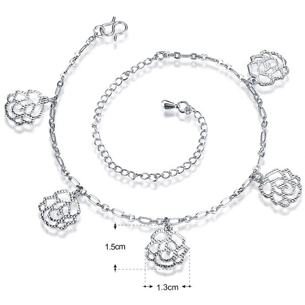 Fancy Hollow Out Solid Color Filigree Rose Charm Anklet For Women