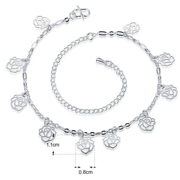 Hollow Out Filigree Flower Charm Anklet