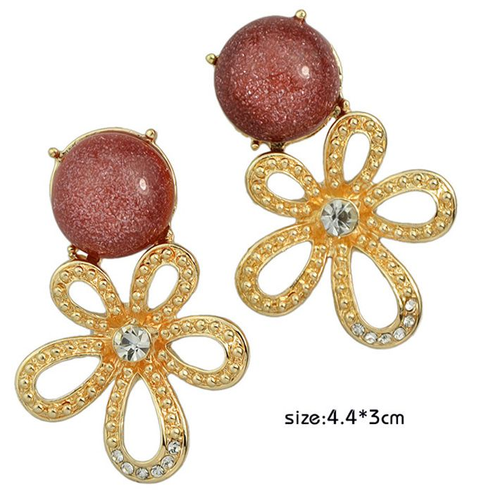 Pair of Hollow Out Faux Gemstone Rhinestone Flower Earrings