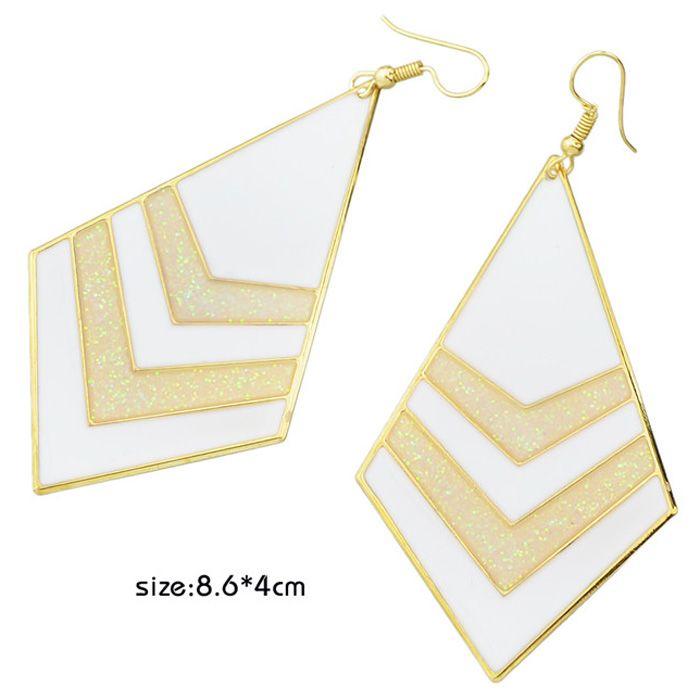 Pair of Gold Plated Enamel Polygon V Shape Earrings