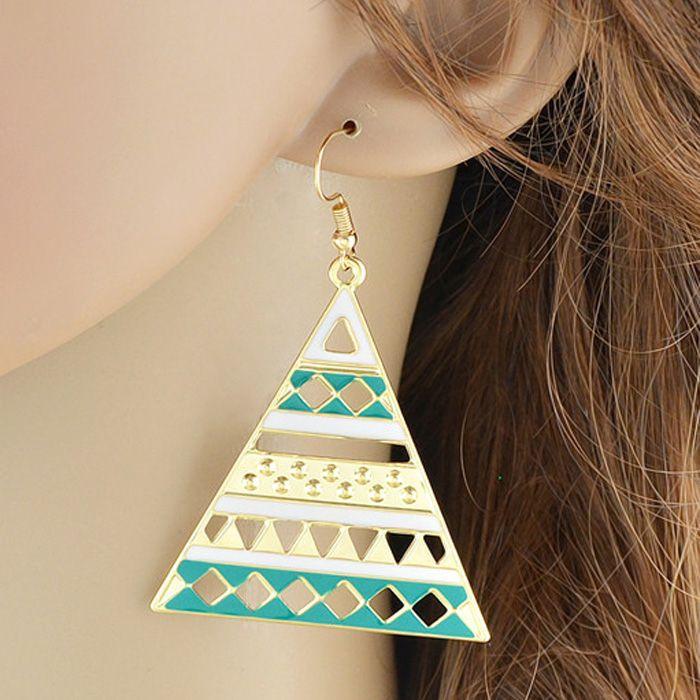 Enamel Triangle Drop Earrings