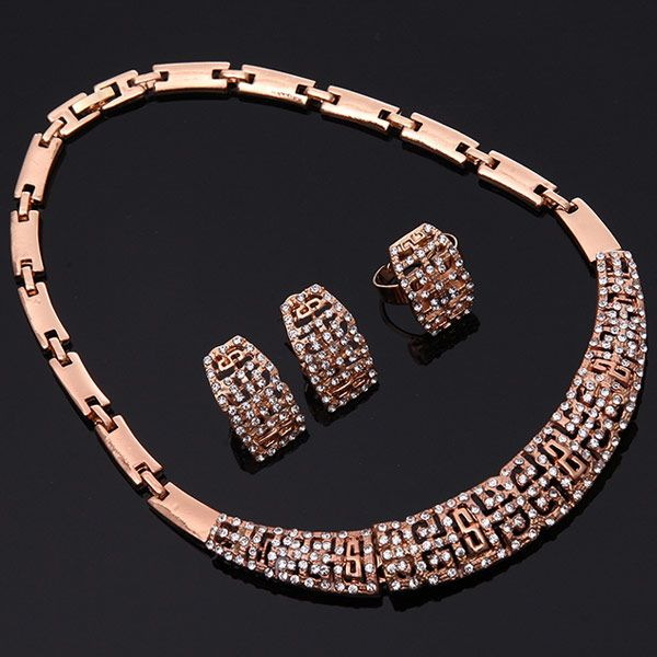 A Suit of Stylish Rhinestone Fret Necklace Bracelet Ring and Earrings For Women
