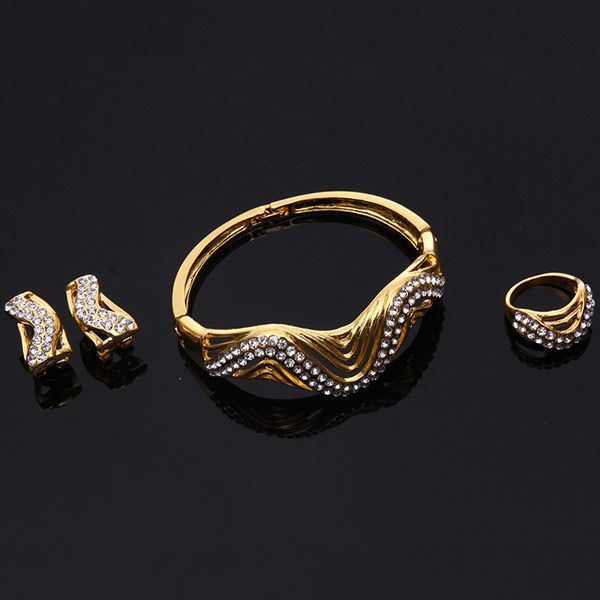 A Suit of Stylish Rhinestone Wave Necklace Bracelet Ring and Earrings For Women