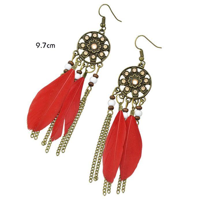 Pair of Bohemian Style Medallion Feathers Chain Tassel Earrings