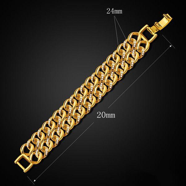 Vintage Double Loop Rhinestone Bracelet For Men