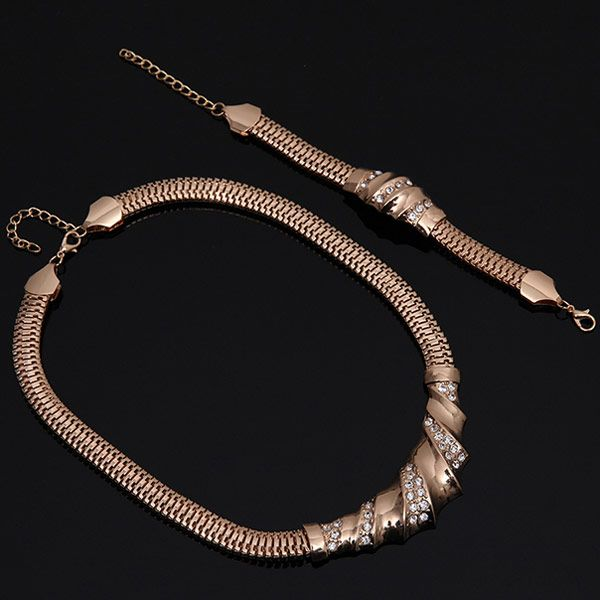 A Suit of Stylish Rhinestone Spliced Necklace Bracelet Ring and Earrings For Women