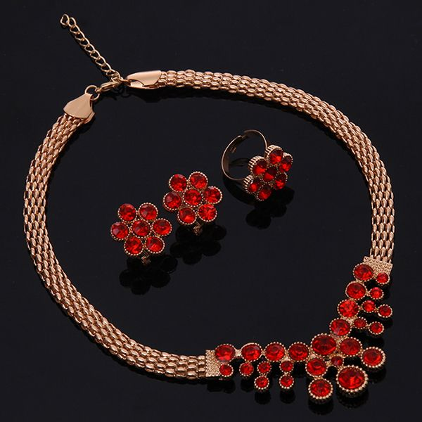A Suit of Retro Faux Ruby Necklace Bracelet Ring and Earrings