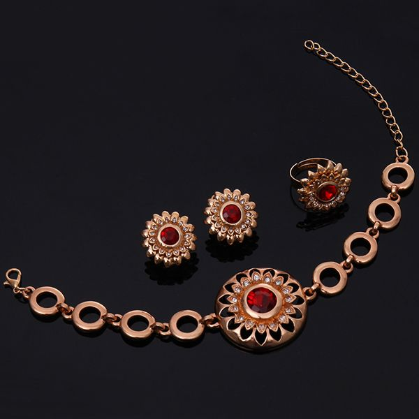 A Suit of Stylish Faux Ruby Sunflower Necklace Bracelet Ring and Earrings For Women