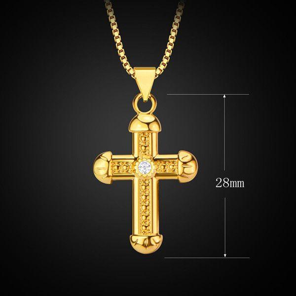 Vintage Rhinestone Crucifix Necklace For Men