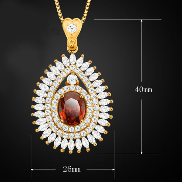 Vintage Rhinestone Faux Ruby Water Drop Necklace For Women
