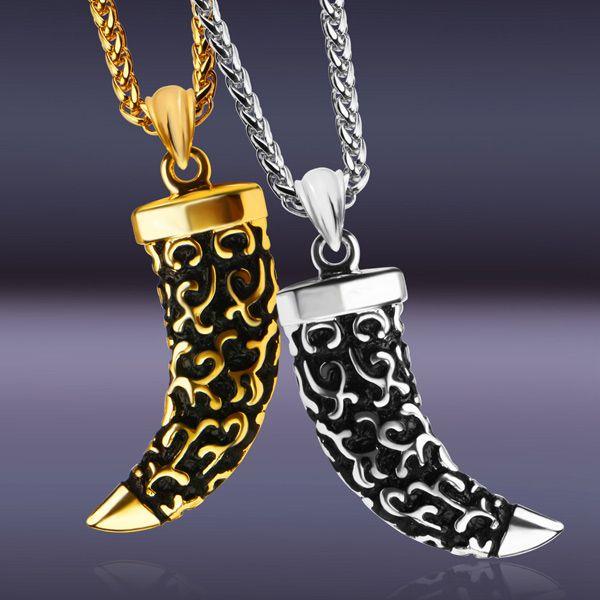 Vintage Alloy Horn Shape Necklace For Men