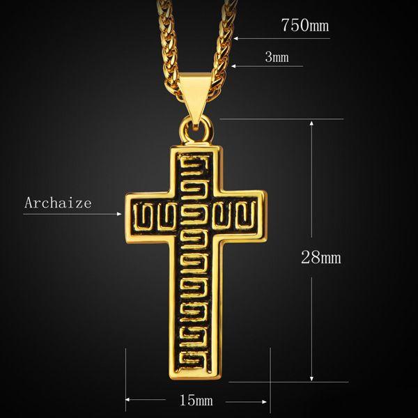 Vintage Fret Cross Necklace