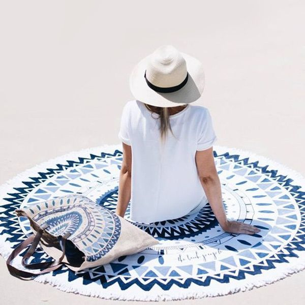 Simple Style Colorful Printed Round Beach Throw With Tassels