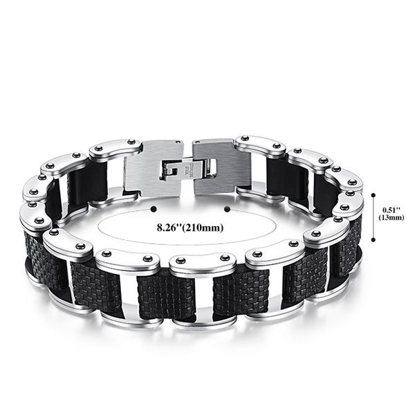Stylish Silver Plated Cut Out Health Bracelet For Men