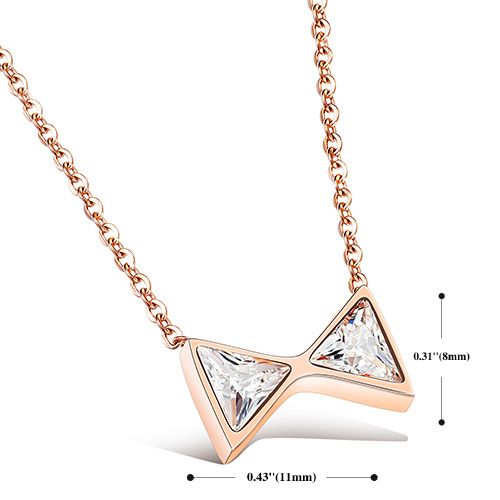 Alloy Gold Plated Mini Bowknot Pendant Necklace