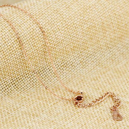 Geometric Rose Gold Rhinestone Pendant Necklace