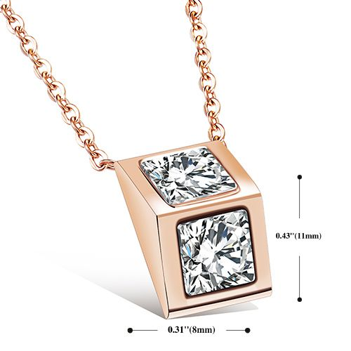 Geometric Rose Gold Rhinestone Pendant Necklace