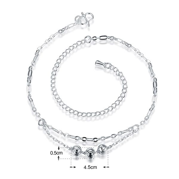 Emboss Ball Layered Anklet