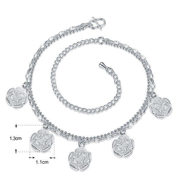 Elegant Silver Plated Geometric Flower Charm Anklet For Women