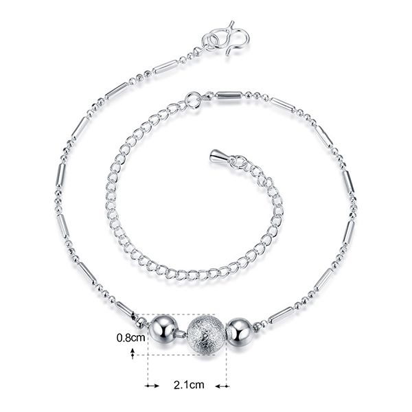 Chic Style Silver Plated Emboss Ball Charm Anklet For Women