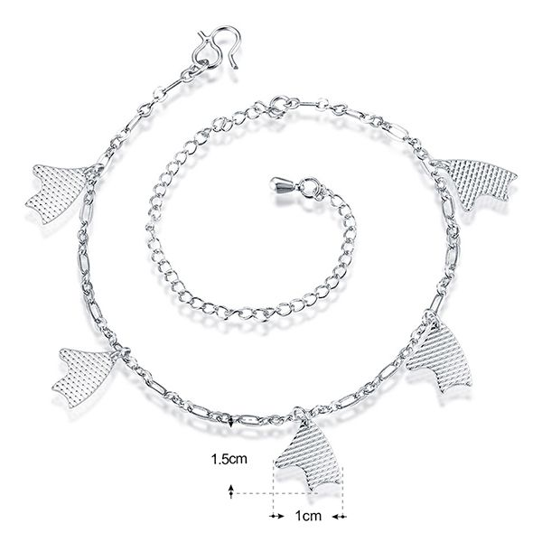 Silver Plated Geometric Charm Anklet