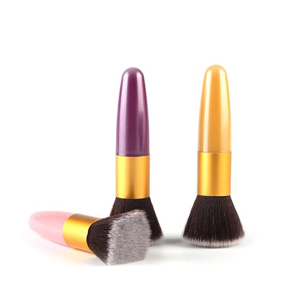 Stylish Bullet Shape Handle Nylon Flat Blush Brush