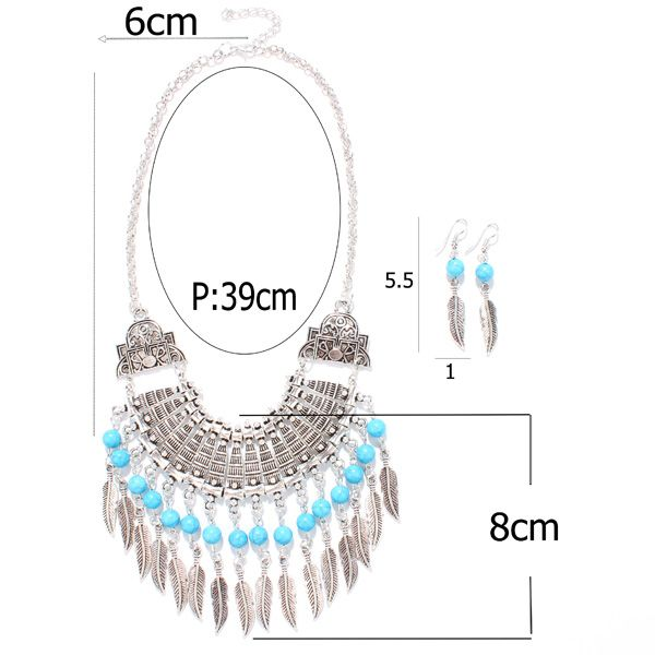 A Suit of Vintage Geometric Faux Turquoise Feather Tassel Necklace and Earrings For Women