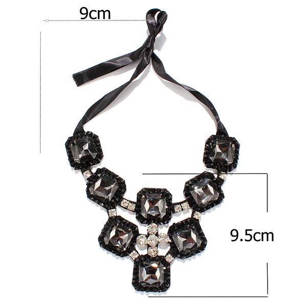 Punk Style Rhinestone Ribbon Square Shape Statement Necklace
