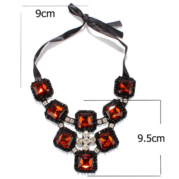 Square Shape Rhinestone Hollow Out Statement Necklace