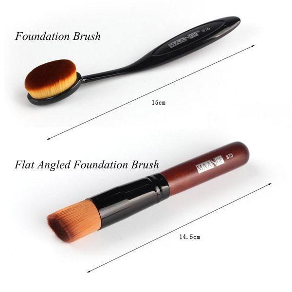 Stylish 7 Pcs Nylon Makeup Brushes Set with Brush Bag + 2 Pcs Foundation Brush + Powder Puffs