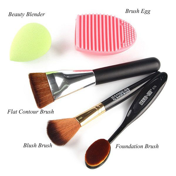 Stylish 5 Pcs/Set Blush Brush + Foundation Brush + Flat Contour Brush + Makeup Sponge + Brush Egg