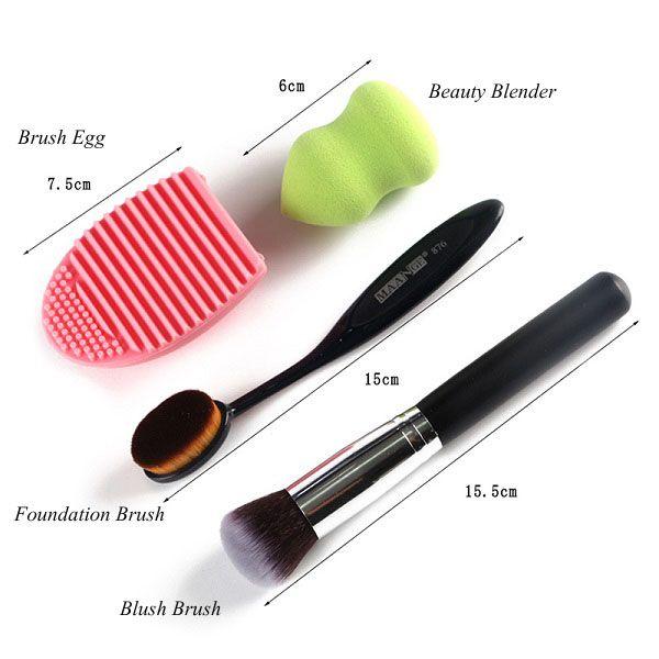 Stylish 4 Pcs/Set Blush Brush + Foundation Brush + Gourd Beauty Blender + Brush Egg