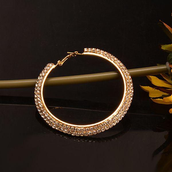 Pair of Gold Plated Curved Rhinestone Big Circle Hoop Earrings