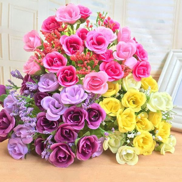 Stylish A Bouquet of Living Room Wedding Party Decor Artificial Rose