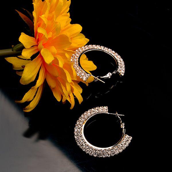 Rhinestone Embellished Circle Hoop Earrings