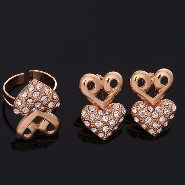 A Suit of Heart Shaped Rhinestone Necklace and Bracelet Earrings and Ring