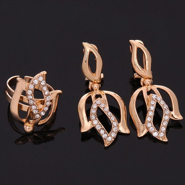 A Suit of Delicate Hollow Out Leaf Necklace Bracelet Earrings and Ring For Women