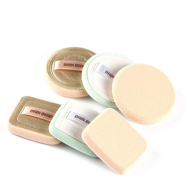 Stylish 2 Pcs Round and Square Base Makeup BB Cream Wet Use Powder Puffs