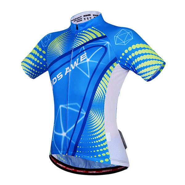 Stylish Outdoor Blue Zipper Short Sleeve and Shorts Cycling Suits For Unisex