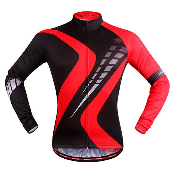 Breathable Sport Long Sleeve Black with Red Cycling Jersey
