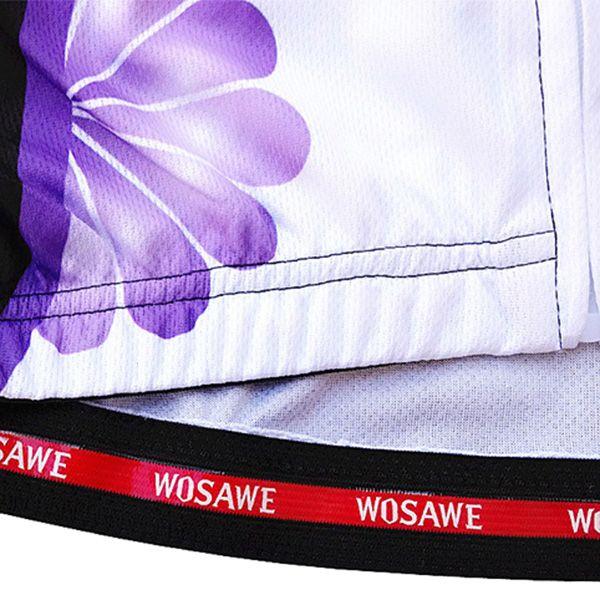 Stylish Sportware Purple Flower Design Zipper Cycling Short Jersey For Women