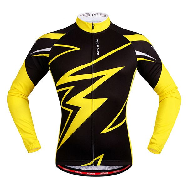 Trendy Spring Outdoor Long Sleeves Lightning Pattern Cycling Jersey