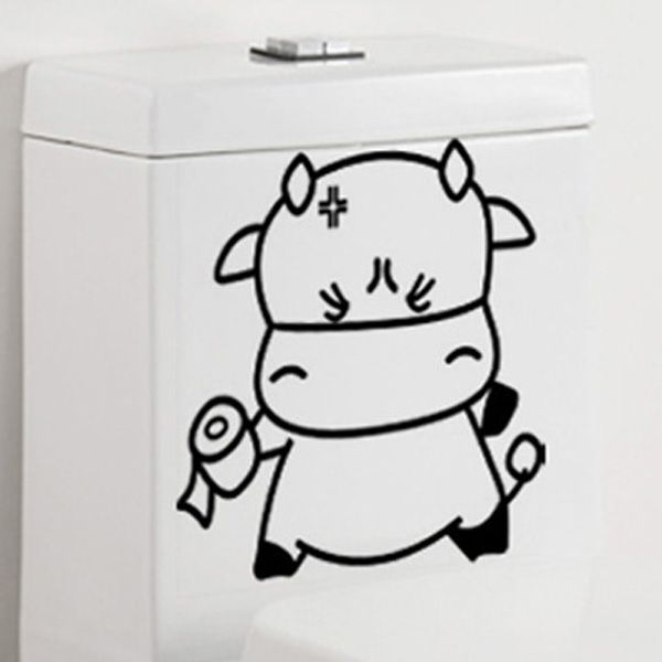 Cartoon Lovely Tissue Cattle Toilet Wall Stickers