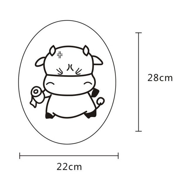 Cartoon Lovely Tissue Cattle Wall Stickers For Toilet