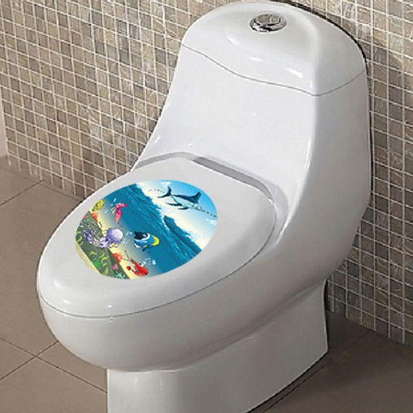 Cartoon Marine Life Toilet Waterproof Wall Art Stickers