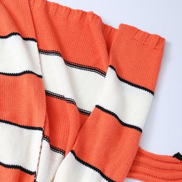 Stripe Cartoon Knitted Clownfish Blanket For Kids