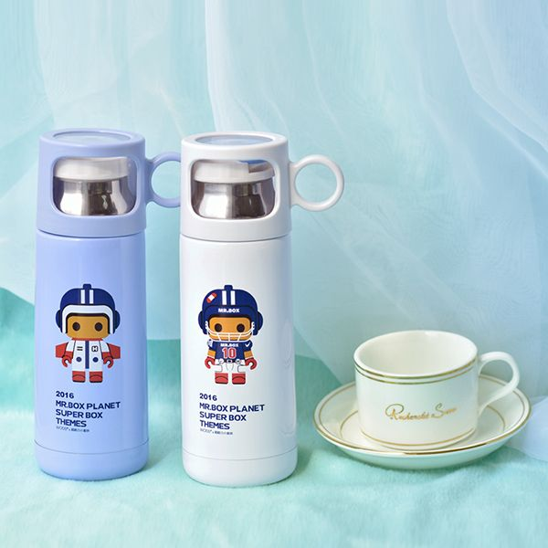 Fashion 350ml Cartoon Mr.Box Stainless Steel Vacuum Flasks Cup For Children