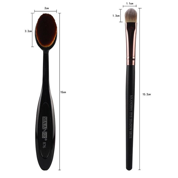 4 Pcs/Set Wave Shape Blush Brush + Foundation Brush + Eyeshadow Brush + Bevel Cut Makeup Sponge